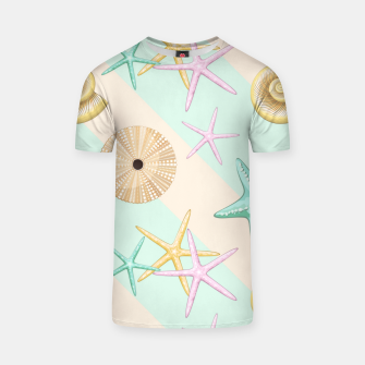 Miniaturka Seashells and starfish Beach Summer Pattern T-shirt, Live Heroes
