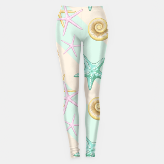 Miniaturka Seashells and starfish Beach Summer Pattern Leggings, Live Heroes