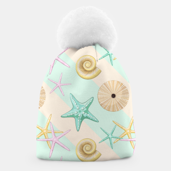 Seashells and starfish Beach Summer Pattern Beanie thumbnail image