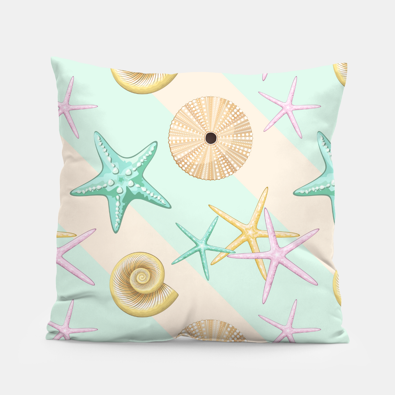 Image of Seashells and starfish Beach Summer Pattern Pillow - Live Heroes