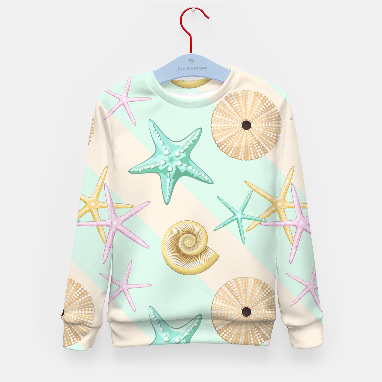 Image of Seashells and starfish Beach Summer Pattern Kid's sweater - Live Heroes