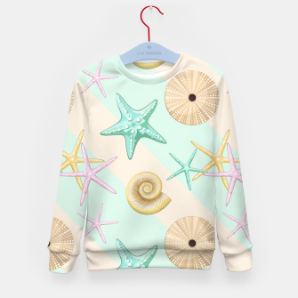Miniaturka Seashells and starfish Beach Summer Pattern Kid's sweater, Live Heroes