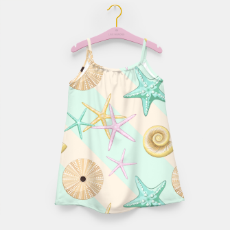 Miniaturka Seashells and starfish Beach Summer Pattern Girl's dress, Live Heroes