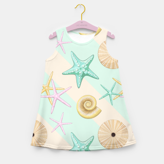 Miniaturka Seashells and starfish Beach Summer Pattern Girl's summer dress, Live Heroes