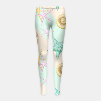 Miniaturka Seashells and starfish Beach Summer Pattern Girl's leggings, Live Heroes