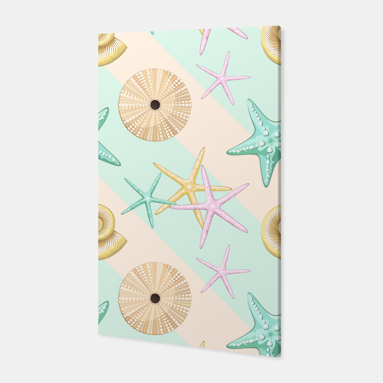 Image of Seashells and starfish Beach Summer Pattern Canvas - Live Heroes