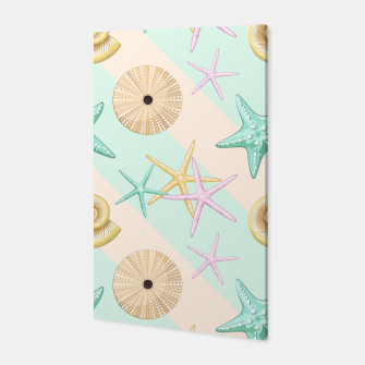 Seashells and starfish Beach Summer Pattern Canvas thumbnail image