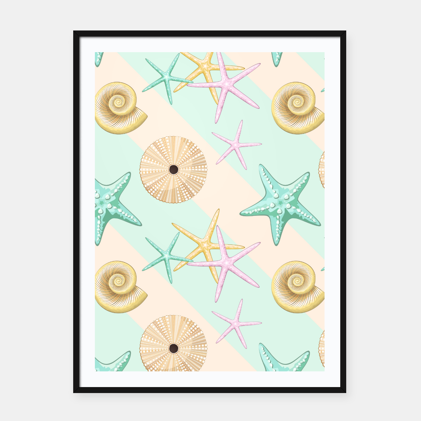 Image of Seashells and starfish Beach Summer Pattern Framed poster - Live Heroes