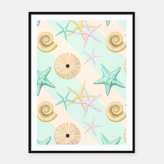 Miniaturka Seashells and starfish Beach Summer Pattern Framed poster, Live Heroes