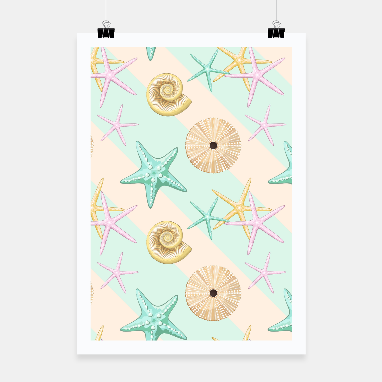 Image of Seashells and starfish Beach Summer Pattern Poster - Live Heroes