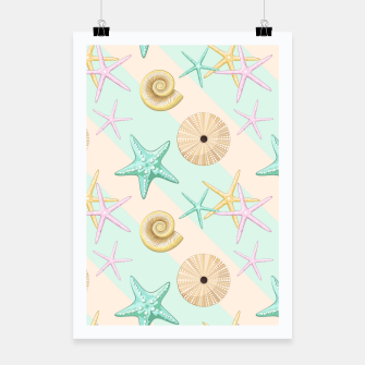 Thumbnail image of Seashells and starfish Beach Summer Pattern Poster, Live Heroes