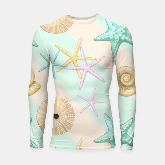Thumbnail image of Seashells and starfish Beach Summer Pattern Longsleeve rashguard , Live Heroes