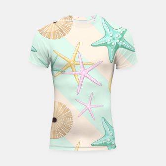Thumbnail image of Seashells and starfish Beach Summer Pattern Shortsleeve rashguard, Live Heroes