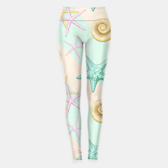 Seashells and starfish Beach Summer Pattern Leggings thumbnail image