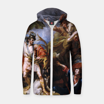 Miniatur The Death of the Stag by Benjamin West Zip up hoodie, Live Heroes
