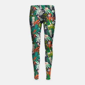Elephants in the graphic jungle Leggings para niña Bild der Miniatur