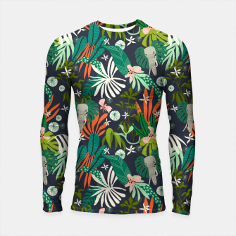 Thumbnail image of Elephants in the graphic jungle Longsleeve rashguard, Live Heroes