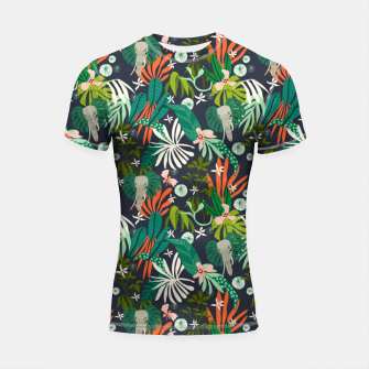 Elephants in the graphic jungle Shortsleeve rashguard Bild der Miniatur