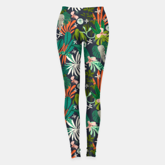 Elephants in the graphic jungle Leggings Bild der Miniatur