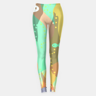 Thumbnail image of Life at the bottom of the ocean, abstract underwater print Leggings, Live Heroes
