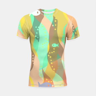 Thumbnail image of Life at the bottom of the ocean, abstract underwater print Shortsleeve rashguard, Live Heroes