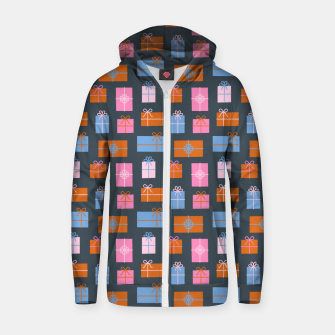 Thumbnail image of Gift Box Pattern Zip up hoodie, Live Heroes