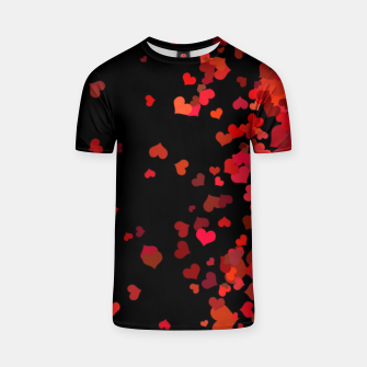 Thumbnail image of Hearts confetti in the night print T-shirt, Live Heroes