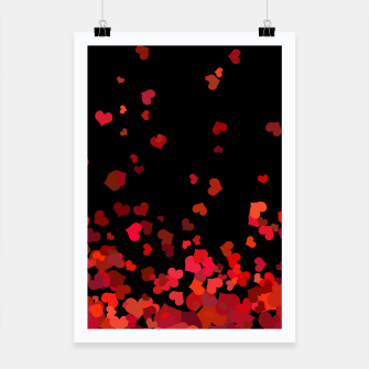 Miniatur Hearts confetti in the night print Poster, Live Heroes