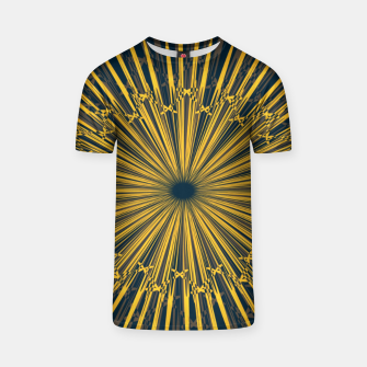 Thumbnail image of The sun print, abstract sun rays in navy blue sky T-shirt, Live Heroes