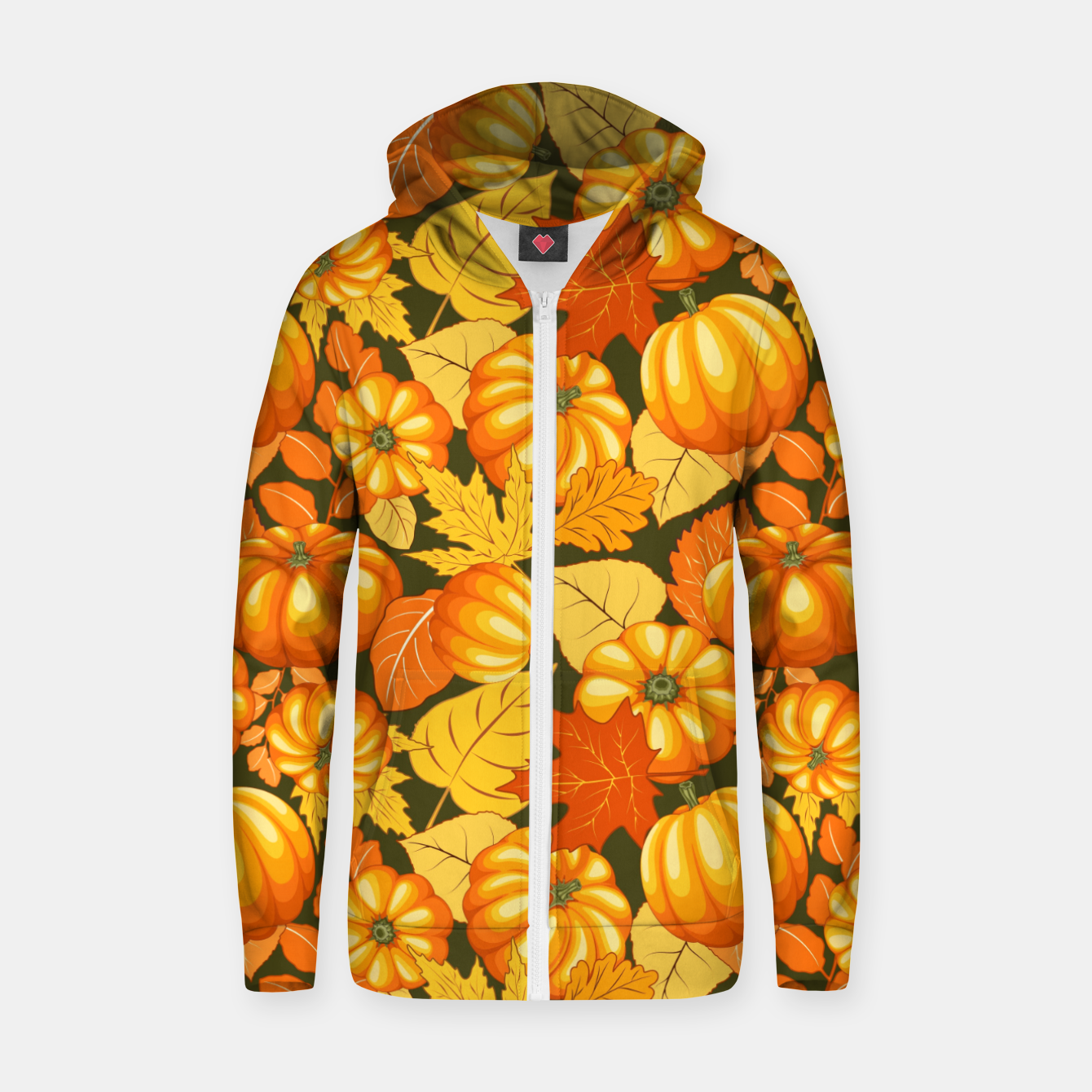 Image of Pumpkins and Autumn Leaves Party Zip up hoodie - Live Heroes