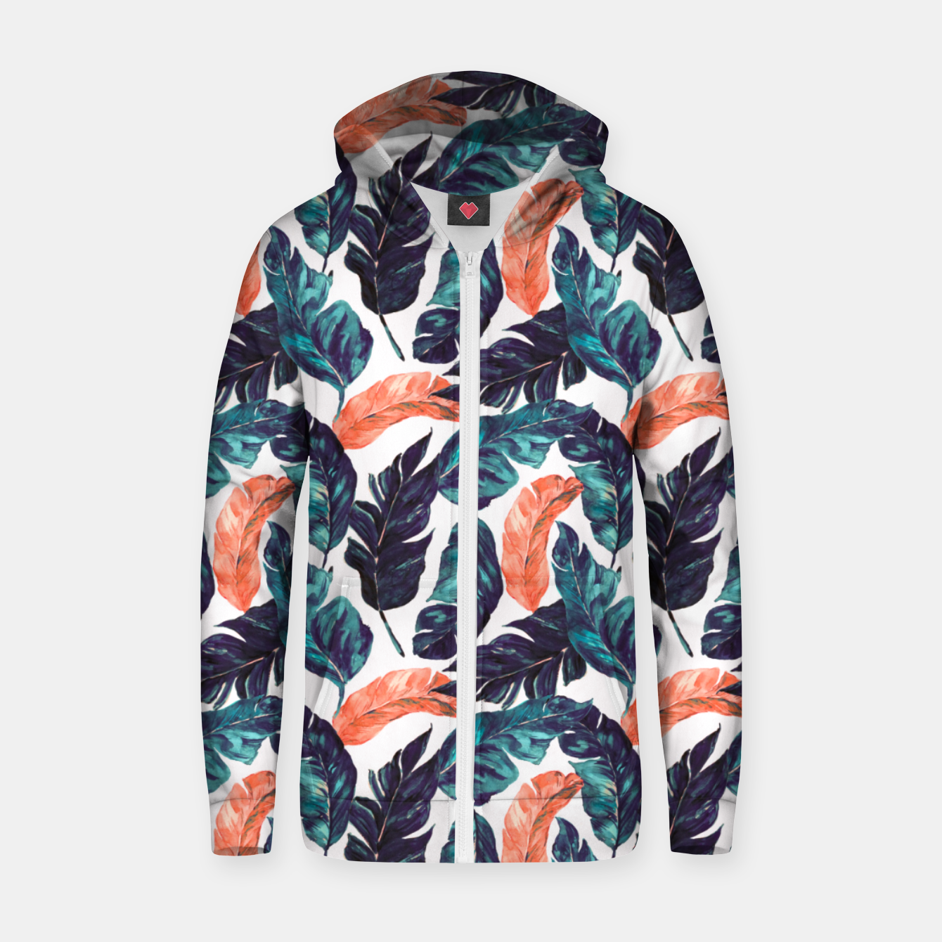Foto Leaf blue and pink Sudadera con capucha y cremallera  - Live Heroes