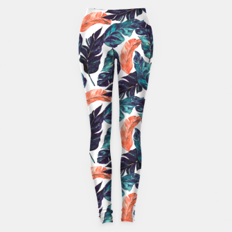 Leaf blue and pink Leggings Bild der Miniatur