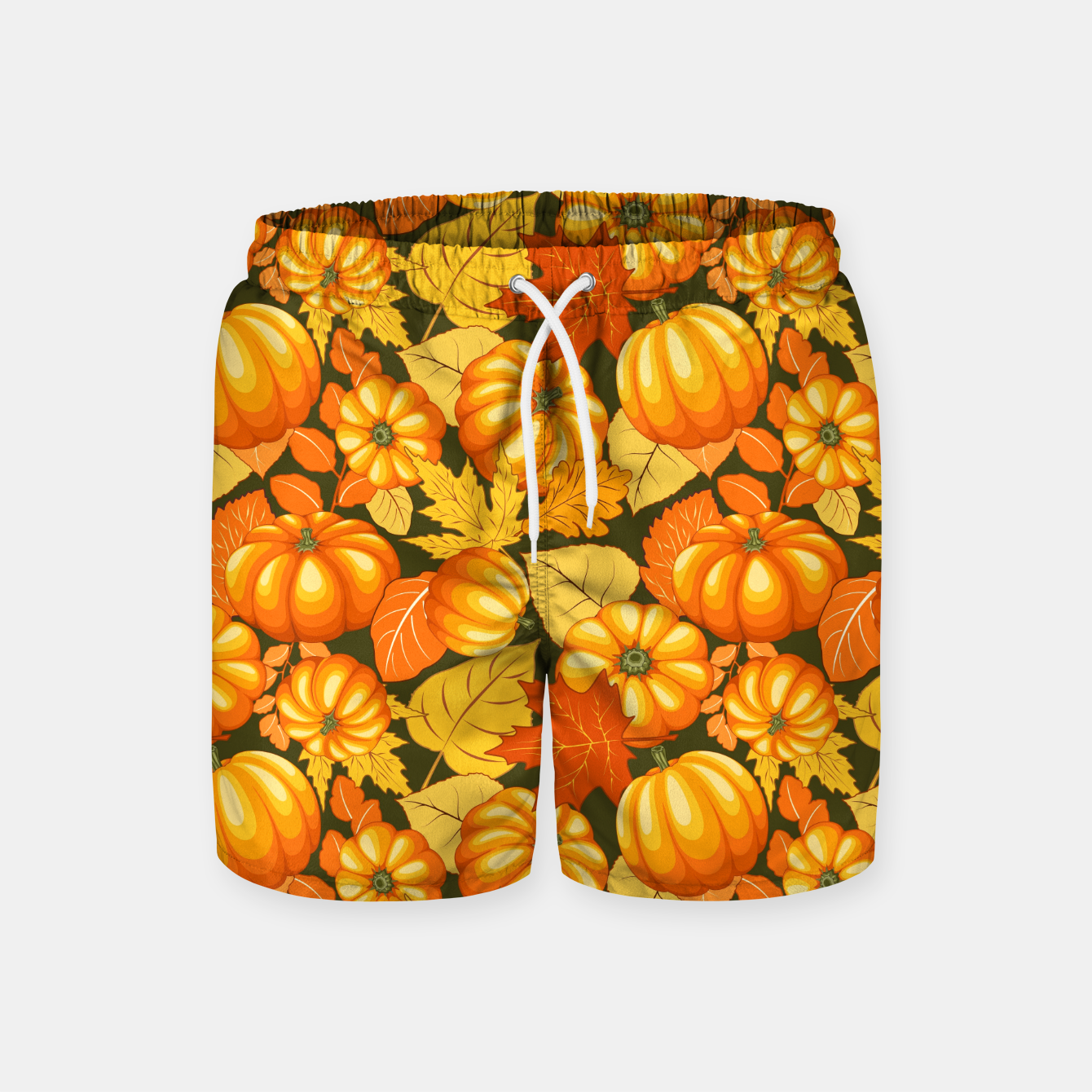 Image of Pumpkins and Autumn Leaves Party Swim Shorts - Live Heroes
