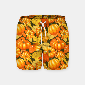 Pumpkins and Autumn Leaves Party Swim Shorts thumbnail image