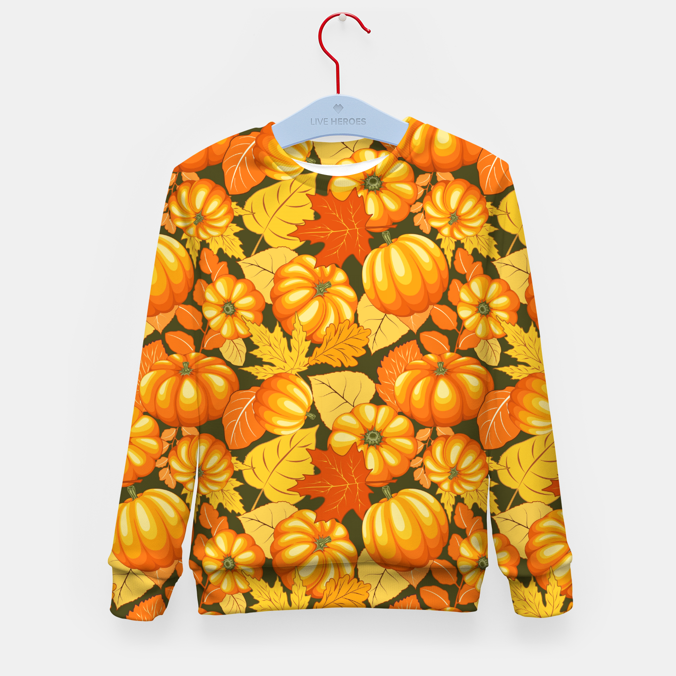 Image of Pumpkins and Autumn Leaves Party Kid's sweater - Live Heroes