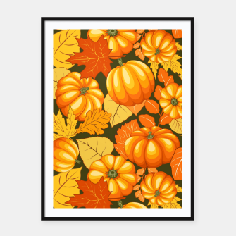 Thumbnail image of Pumpkins and Autumn Leaves Party Framed poster, Live Heroes