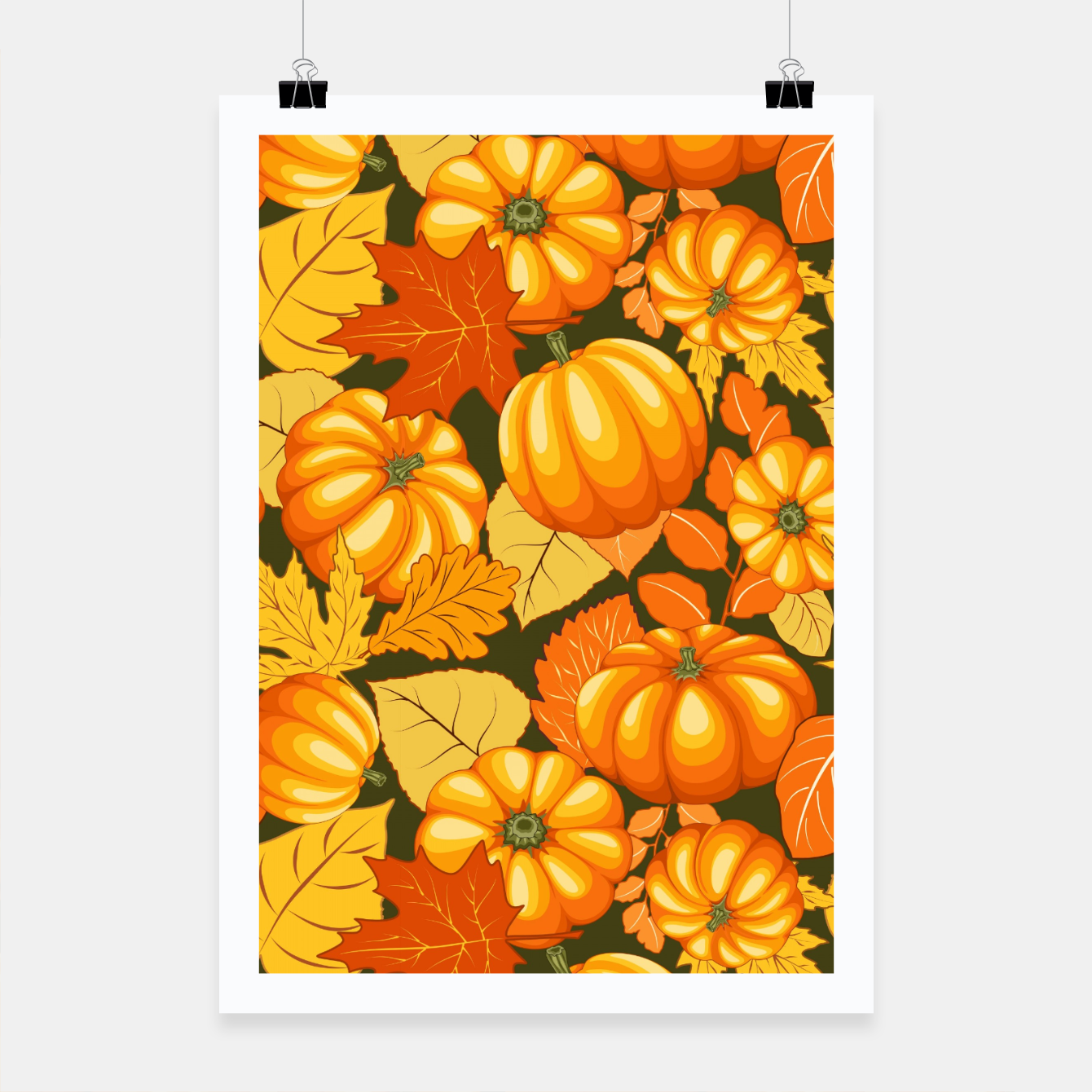 Image of Pumpkins and Autumn Leaves Party Poster - Live Heroes