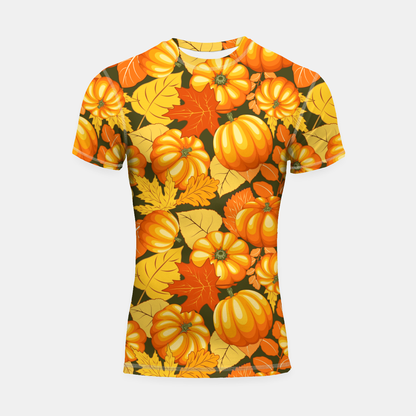 Image of Pumpkins and Autumn Leaves Party Shortsleeve rashguard - Live Heroes