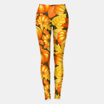 Thumbnail image of Pumpkins and Autumn Leaves Party Leggings, Live Heroes
