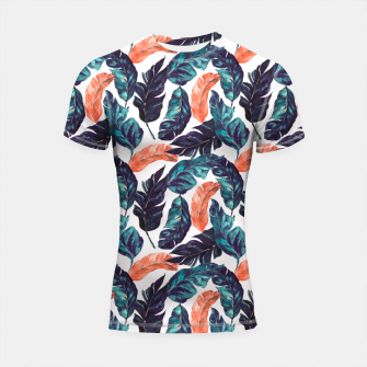 Thumbnail image of Leaf blue and pink Shortsleeve rashguard, Live Heroes