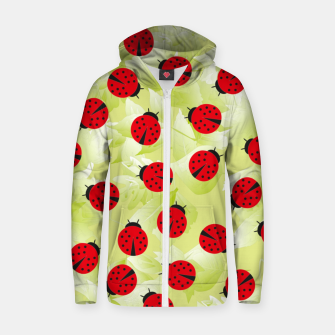 Ladybugs and leaves nature print Zip up hoodie Bild der Miniatur
