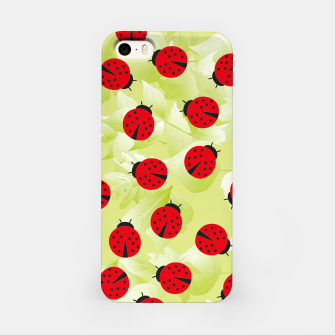 Ladybugs and leaves nature print iPhone Case Bild der Miniatur