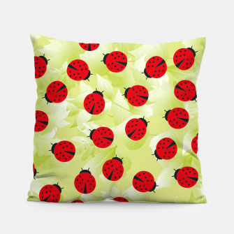 Ladybugs and leaves nature print Pillow Bild der Miniatur