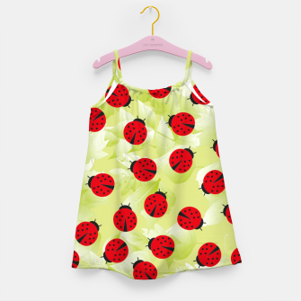 Ladybugs and leaves nature print Girl's dress Bild der Miniatur