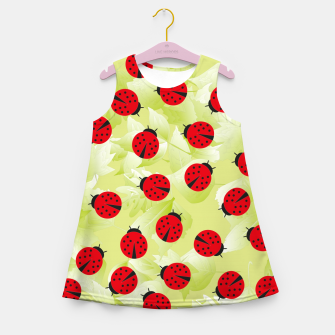 Ladybugs and leaves nature print Girl's summer dress Bild der Miniatur