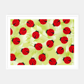 Thumbnail image of Ladybugs and leaves nature print Framed poster, Live Heroes