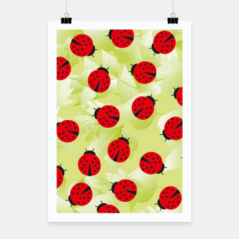 Ladybugs and leaves nature print Poster Bild der Miniatur