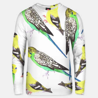 Miniatur Budgies and american goldfinches in watercolor  Unisex sweater, Live Heroes