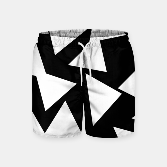 Miniatur Flying Triangles Black and White Swim Shorts, Live Heroes