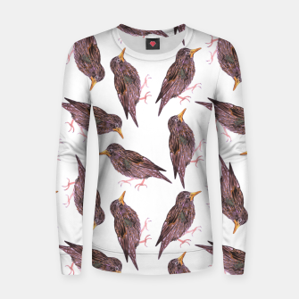 Miniatur Common starling or European starling or Sturnus vulgaris bird watercolor painting Women sweater, Live Heroes
